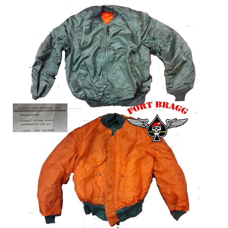 BOMBER ALPHA INDUSTRIES MA 1 FLYNG JACKET VERDE OROGINALE