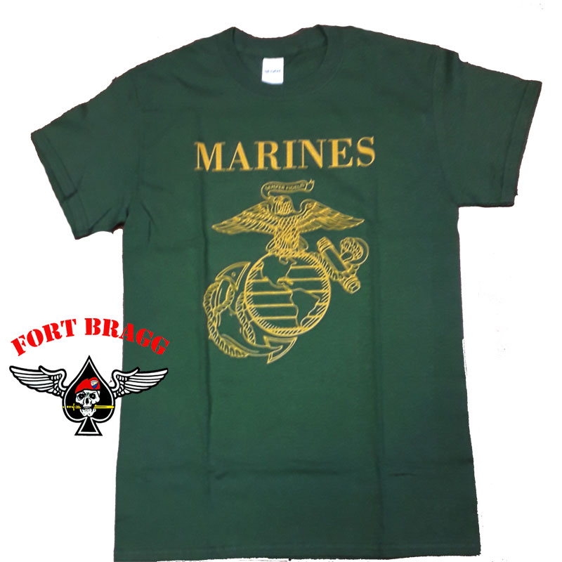 T-SHIRT VERDE CON STEMMA US MARINES CORP