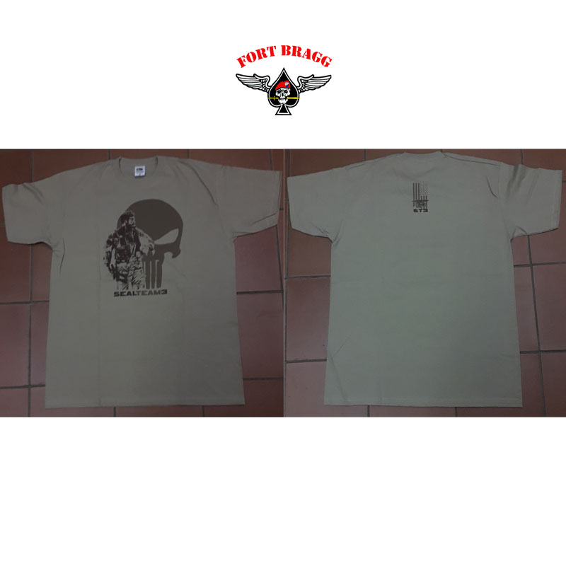T-SHIRT KAKI CON STEMMA NAVY SEALS TEAM